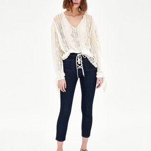 Zara TRF Drawstring Crop Skinny Jeans Blue Size 6